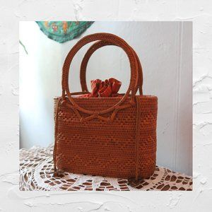 Mini Wicker Purse With Woven Detail
